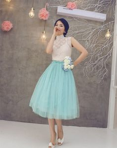 Lace Blouse and Tulle Skirt 2piece set Wedding guest by JAKYUNG, $108.00