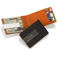 Personalized Metro Leather Wallet / Money Clip- groomsmen gifts
