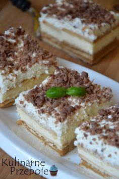 3 bit - ciasto bez pieczenia - KulinarnePrzeboje.pl Sweet Bar, Polish Recipes, Polish Food, No Bake Desserts, Tiramisu, Breakfast Recipes, Sweet Treats, Deserts, Food Porn