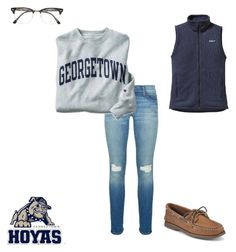 """I ❤️ Georgetown!"" by liprep ❤ liked on Polyvore featuring Rebecca Minkoff, Champion, Sperry Top-Sider, Patagonia and Ray-Ban"