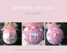 Want to make your baby's gender reveal extra special? Want an extra special gift for a newborn baby? A grandchild? A godchild? Or maybe a unique baby shower gift? Then these cute ornaments are the answer to your quest! Quilted Christmas Ornaments, Pink Christmas, Unique Baby Shower Gifts, Godchild, Love Craft, Newborn Gifts, Gender Reveal, Decoration, Decor Crafts
