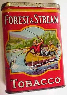 "FOREST & STREAM TOBACCO POCKET TIN. 2 MEN IN THE CANOE VERSION. From the Imperial Tobacco Co. of Canada Ltd. Measures 4 1/4"" in height X 3"" in width."