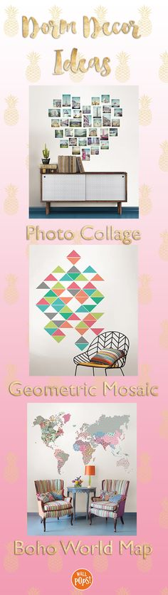 Dorm Decor Ideas! Decorate your dorm with WallPops wall decals. A beautiful heart photo collage, geometric mosaic, and boho floral world map are all perfect for decorating your dorm walls. The peel and stick design means you won't have to search for tape or thumbtacks, and they won't harm the walls!