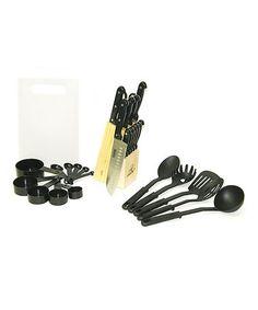 Another great find on #zulily! Black Stainless Steel 29-Piece Kitchen Set #zulilyfinds