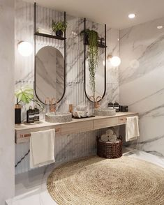 If you have a small bathroom in your home, don't be confuse to change to make it look larger. Not only small bathroom, but also the largest bathrooms have their problems and design flaws. Marble Interior, Bathroom Interior Design, Restroom Design, Bad Inspiration, Bathroom Inspiration, Bathroom Ideas, Bathroom Inspo, Beautiful Bathrooms, Modern Bathroom