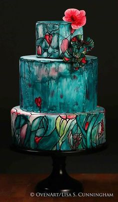 stunning stained glass cake.