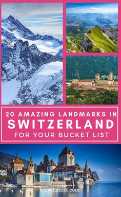 20 Incredible Landmarks in Switzerland. Switzerland is famous for its beautiful mountainous scenery, the snow-capped Alps and fantastic skiing conditions. But some of the most famous landmarks in…More Europe Travel Guide, Europe Destinations, Travel Guides, Europe Packing, Backpacking Europe, Packing Tips, Budget Travel, European Travel, Swiss Travel