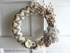 Hey, I found this really awesome Etsy listing at https://www.etsy.com/listing/201535561/gray-cream-chevron-burlap-wrapped-wreath