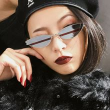 Alloy Cat Eye Sunglasses Women 2018 Triangle Small Cateye Sun Glasses Female Men Fashion Brand Shades(China)