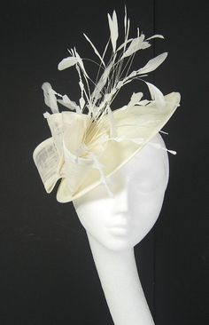 Cream Fascinator Kentucky Derby or Wedding Hat by Hatsbycressida, $165.00
