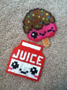 Perler bead Kawaii food! So Cute! -Popsicle -Juice box