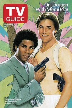 TV Guide July 27, 1985 - Philip Michael Thomas and Don Johnson of Miami Vice. Illustration by Richard Amsel.