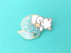 Blue purrmaid enamel pin mermaid cat hard enamel by OhPlesiosaur