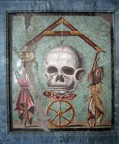 Skull mosaic from Pompeii. Obviously anatomy was not the artist's strong suit.