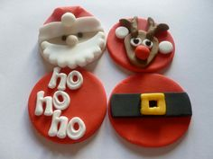 Edible Handmade Fondant Father Christmas Cupcake Toppers 3 of each design - santa, reindeer, belt and ho,ho,ho Christmas Cupcake Toppers, Cute Christmas Cookies, Fondant Cupcake Toppers, Christmas Cupcakes, Christmas Sweets, Christmas Cooking, Christmas Goodies, Christmas Candy, Cupcake Cakes