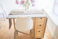 Space Saving Gateleg: Our Apartment Dining Table- paint tabletop accent color - makes a cute desk for a study nook too!