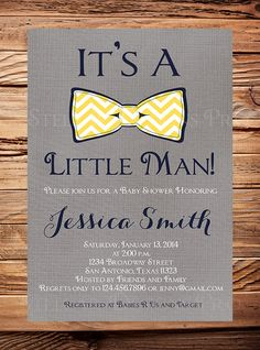 Baby shower Invitation boy Bow Tie Boy Shower by StellarDesignsPro, $21.00