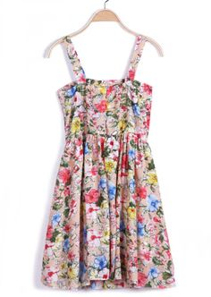 Pink Spaghetti Strap Floral Pleated Dress US$22.26