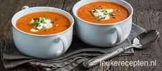 Makkelijk en lekker soepje van tomaat, paprika en courgette