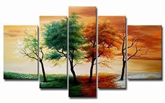 VASTING ART Oil Paintings on Canvas Hand-Painted 4 Seasons Trees Landscape Artwork Stretched Framed Ready to Hang for Home Decoration Wall Decor Simple Oil Painting, Oil Painting On Canvas, Oil Paintings, Painting Portraits, Nature Paintings, Painting Abstract, Painting Prints, Art Print, 5 Piece Canvas Art