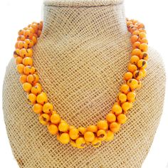 Alba Necklace - Tangerine Orange by ladymosquito: Made with South American açai seeds in vibrant colors to make any summer dress or halter top shine! #Necklace #ladymosquito