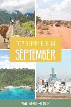 Wohin soll ich im September reisen? Du hast Urlaub im September, weißt aber nicht, wohin? Wir stellen dir die besten Reiseziele für den Monat vor. Egal ob du Outdoor-Fan bist, Badeurlaub magst oder einen Städtetrip planst: für jeden ist etwas dabei. #gehmalreisen #reiseziele #reisetipps Kuala Lumpur, Penang, Namibia, Belize, Taiwan, Peru, Videos, Movies, Movie Posters