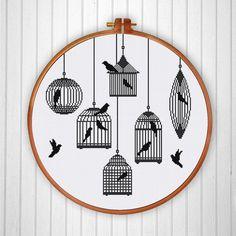 Aves jaulas Silhoutte patrón de punto de Cruz por ThuHaDesign