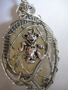 Wire Wrapped Grateful Dead Dancing Bear Pendant by KosmicKrystals, $25.00