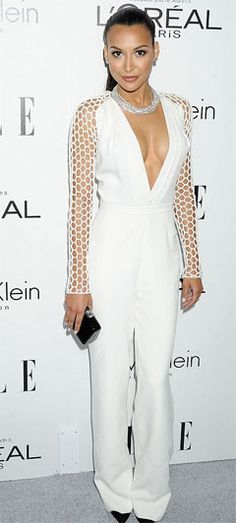 Naya Rivera looks a stunner in a revealing catsuit.  She recently got engaged to rapper Big Sean and was just a couple of weeks ago was seen shopping for a gown for her big day. But on Monday night in Beverly Hills Naya Rivera was turning heads in a white outfit that was far from bridal. Check out at:http://www.womenfitness.net/news/other/nayaRivera_revealing.htm