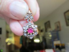 Vintage Art Deco .585ctw Ruby and White Sapphire Gold/925 Sterling Silver Pendant w/ 16 IN Sterling Chain, Wt. 4.0 Grams