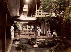 This 1880s image by KIMBEI KUSAKABE is one of the few shots that take you inside the richly shadowed inner courtyard of a large Japanese Tea House, in Tonosawa, near Hakone