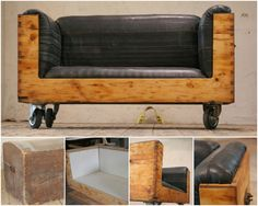 """A great idea with this old and vintage chest upcycled into a sofa with a cover made entirely of recycled bicycle inner tubes. 100% recycled! :) [symple_box color=""""gray"""" fade_in=""""false"""" float=""""center"""" text_align=""""left"""" width=""""100%""""] Website: Upcycling ! [/symple_box]"""