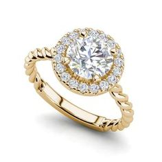 Pave Halo Twist Carat Round Cut Diamond Engagement Ring Rose Gold in Jewelry & Watches, Engagement & Wedding, Engagement Rings Yellow Engagement Rings, Round Diamond Engagement Rings, Engagement Wedding Ring Sets, Diamond Wedding Bands, Solitaire Rings, Diamond Rings, Diamond Jewelry, Solitaire Engagement, Round Cut Diamond
