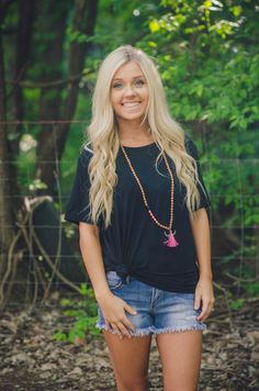 Black Piko Tee available at J. Lilly's Boutique or jlillysboutique.com