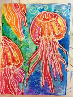 From the blog 'SmArt Class'- Using 'Liquitex gloss medium & varnish to draw the jellyfish and let dry then using watercolors over it and for the background salt