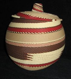 Handmade Zulu Lidded Telephone Wire Basket | From South Africa