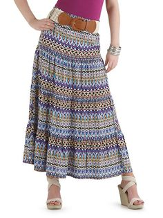 Belted Tiered Maxi Skirt (Dots) Also Avalible in Black and Purple.