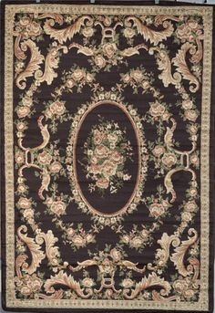 Chocolate Brown Beige Green 8x10 Victorian Oriental Area