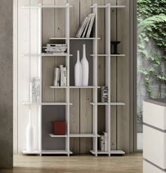 Temahome Puzzle, Shelving Unit in Pure White with Back Panels in 3 Colour Options - Modern bookshelf or display unit in pure white with back panels in walnut, grey or green