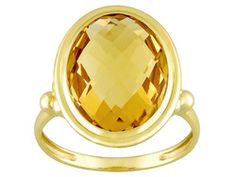Pascalli Provence Collection Brazilian Citrine 6.75ct Oval Briolette Cut 10k Yellow Gold Ring
