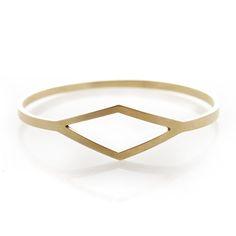 Diamond brass bangle