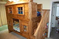 Rustic cabin bunk bed Do It Yourself Home projects by Ana White - Rustic cabin bunk bed Do It Yourself Home projects by Ana White - Bunk Beds Small Room, Cabin Bunk Beds, Cool Bunk Beds, Bunk Beds With Stairs, Kids Bunk Beds, Small Rooms, Cabin Loft, Bunk Beds For Toddlers, Bunk Bed Fort