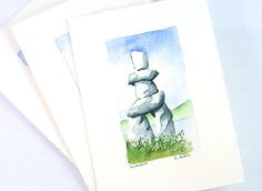 Items similar to Landscape Watercolor Inukshuk Original Fine Art Card on Etsy Watercolor Landscape, Watercolor Paintings, Watercolors, Family Christmas Gifts, Biomes, Online Art Gallery, Hand Painted, Art Cards, Fine Art