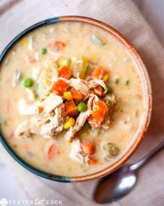 Slow Cooker Healthy Chicken Pot Pie Stew- all the tastiness of pot pie, in a healthy slow cooker version