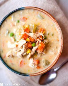 Slow Cooker Healthy Chicken Pot Pie Stew- all the tastiness of pot pie, in a healthy slow cooker version