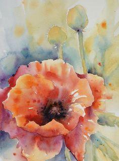 Poppy Grande by Yvonne Joyner Watercolor ~ x