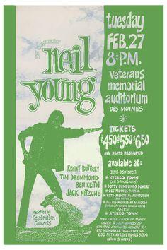 Neil Young concert posters | Neil Young at Veterans Memorial Auditorium Des Moines Concert Poster