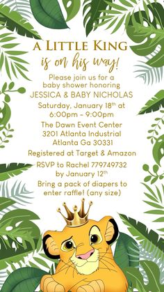 Baby Shower Lion King Theme Video Invitation Lion King Baby Shower Invitation I… - Modern Invitation Baby Shower, Invitation Ideas, Invitation For Birthday, Safari Invitations, Boy Baby Shower Themes, Baby Shower Invitations For Boys, Themes For Baby Showers, Baby Shower Cricut, Texte Baby Shower