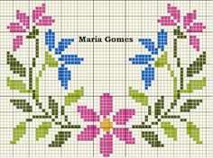 Maria Gomes Baby Cross Stitch Patterns, Cross Stitch Borders, Cross Stitch Flowers, Cross Stitch Designs, Cross Stitch Heart, Cross Stitch Alphabet, Cross Stitch Embroidery, Needlework, Couture