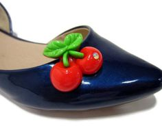Cherry Shoe Clips, Red Shoe Clips, Red Cherries Clip On Shoes, Pinup Cherry Shoes, Cherry Shoe Buttons, Cherry Shoe Accessories